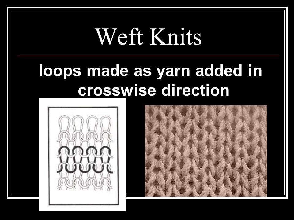 loops made as yarn added in crosswise direction