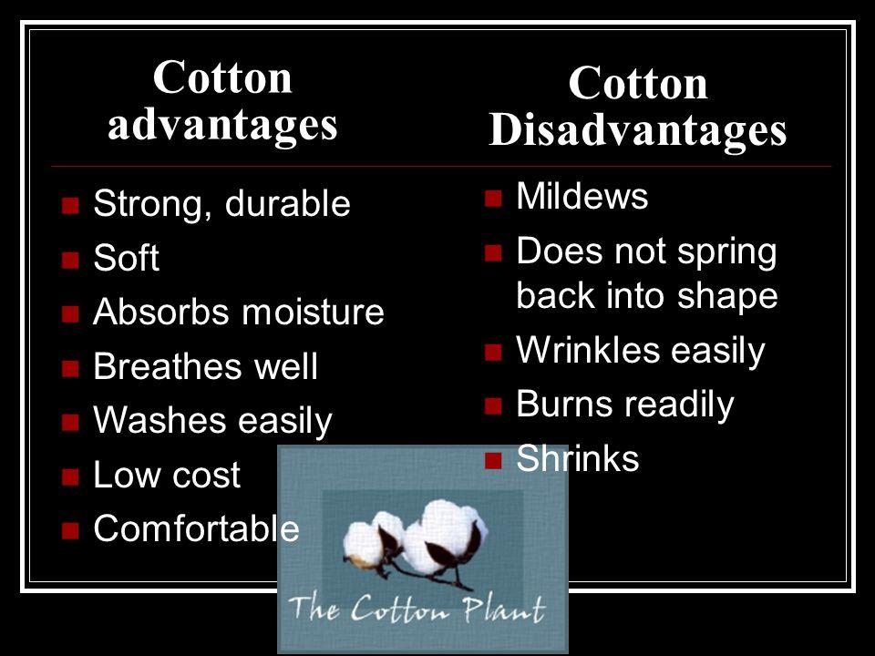 Cotton advantages Cotton Disadvantages