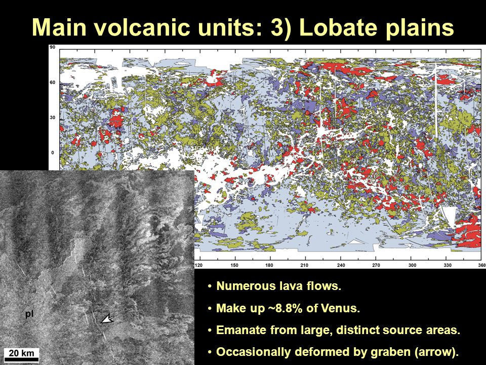 Main volcanic units: 3) Lobate plains