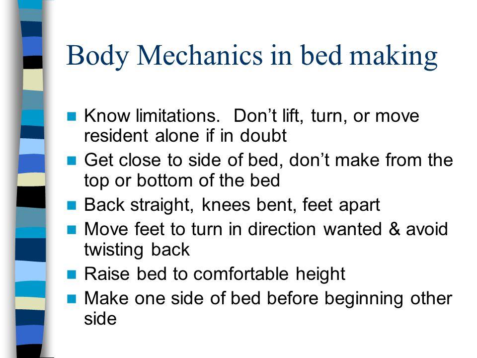 Body Mechanics in bed making