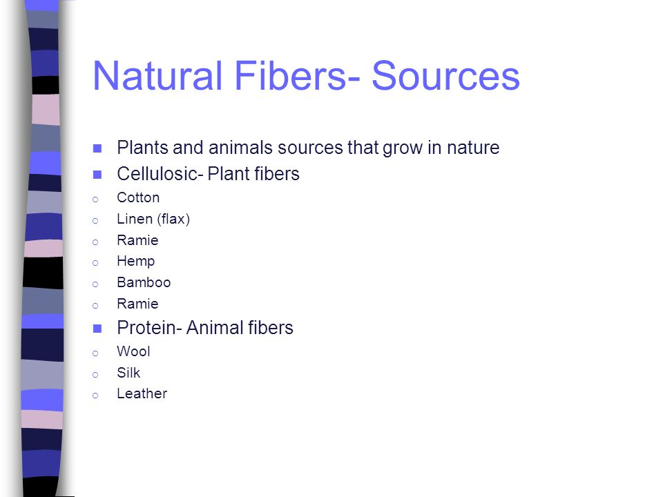 Natural Fibers- Sources