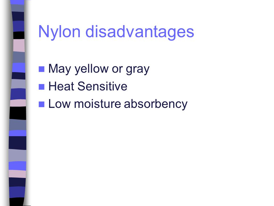 Nylon disadvantages May yellow or gray Heat Sensitive