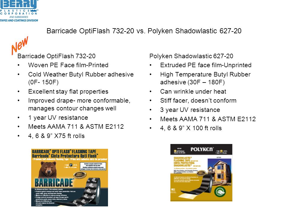 Barricade OptiFlash 732-20 vs. Polyken Shadowlastic 627-20