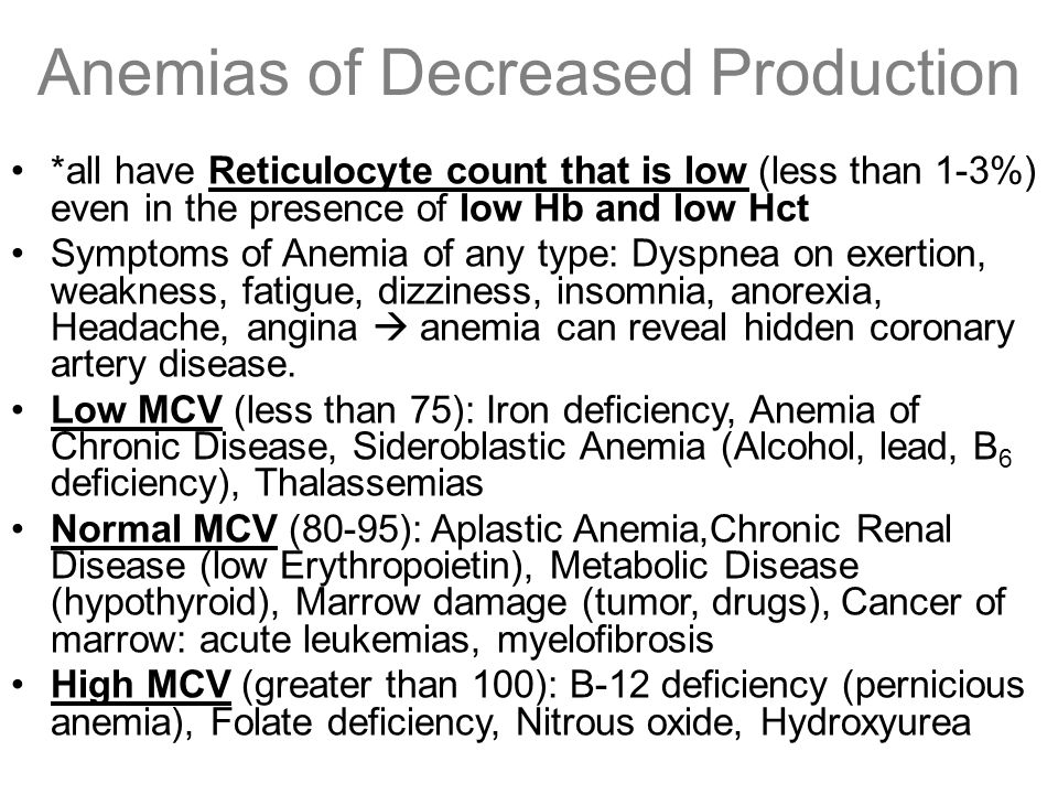Anemias of Decreased Production