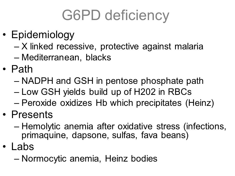 G6PD deficiency Epidemiology Path Presents Labs