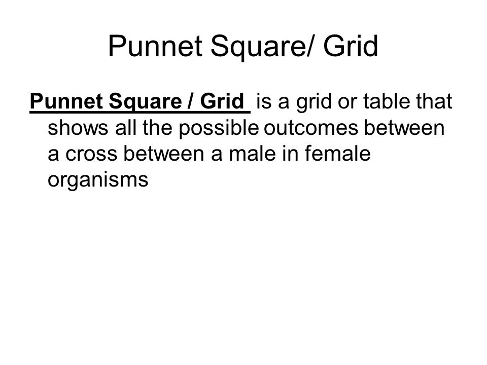 Punnet Square/ Grid Punnet Square / Grid is a grid or table that shows all the possible outcomes between a cross between a male in female organisms.