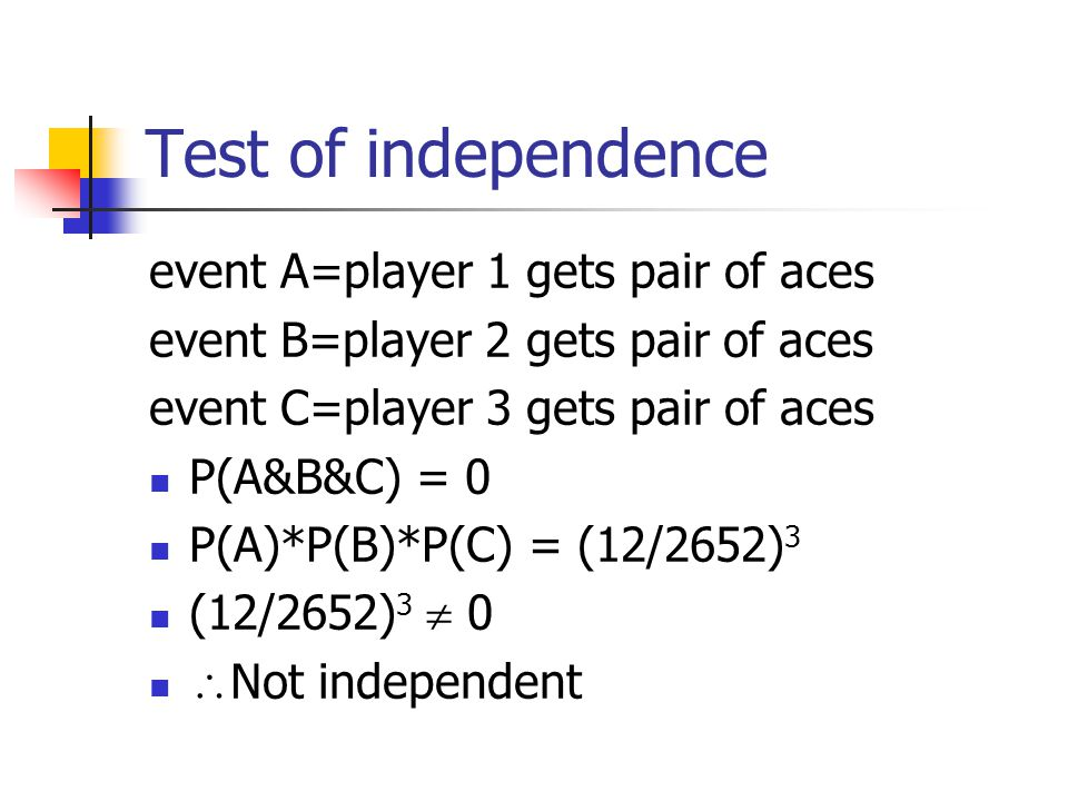 Test of independence event A=player 1 gets pair of aces