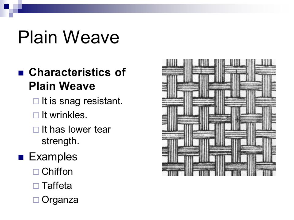 Plain Weave Characteristics of Plain Weave Examples