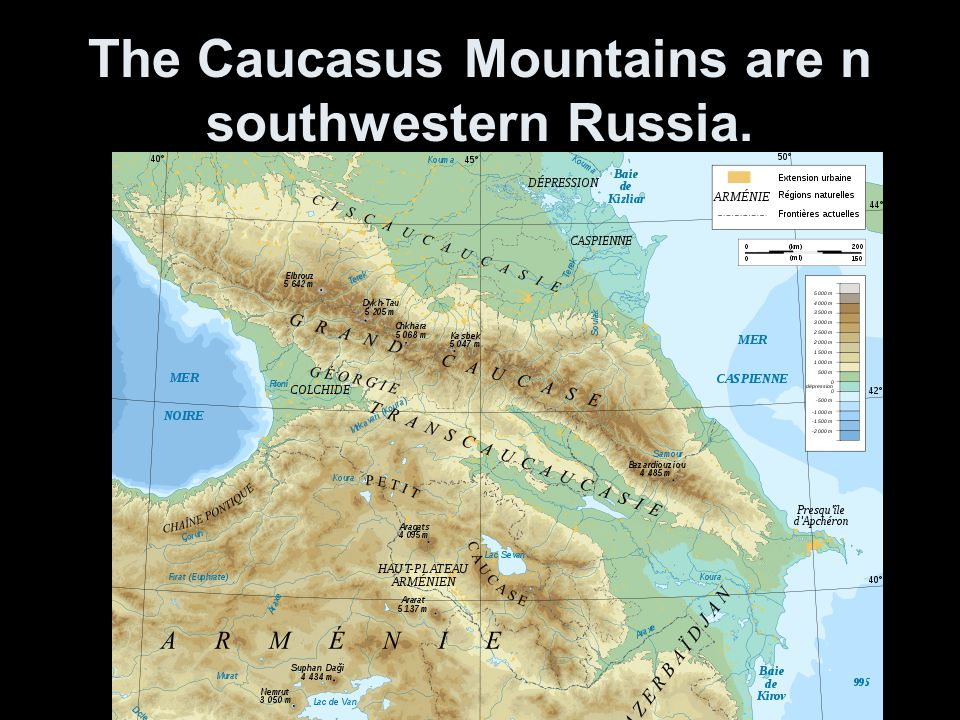 The Caucasus Mountains are n southwestern Russia.