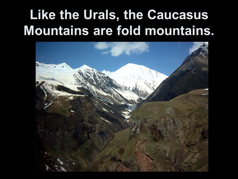 Like the Urals, the Caucasus Mountains are fold mountains.