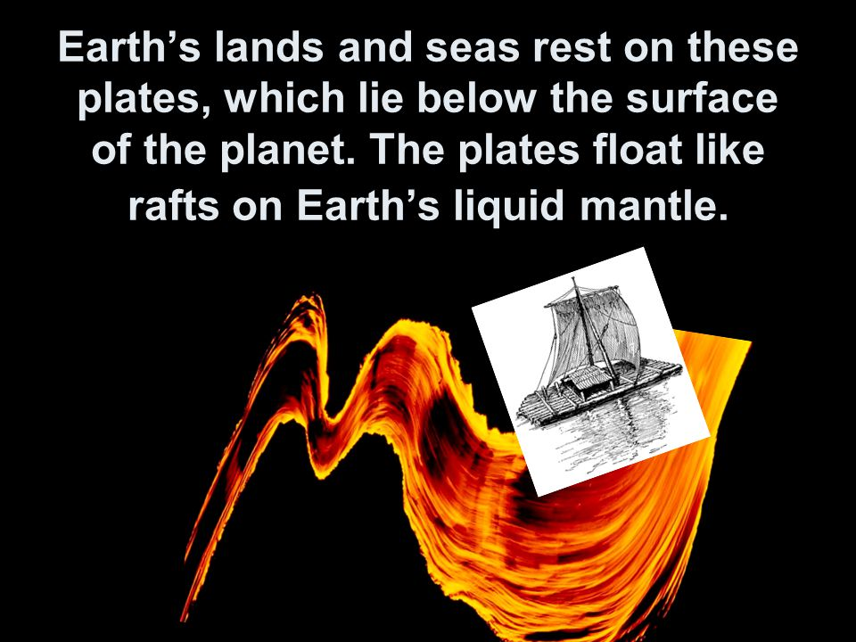 Earth's lands and seas rest on these plates, which lie below the surface of the planet.