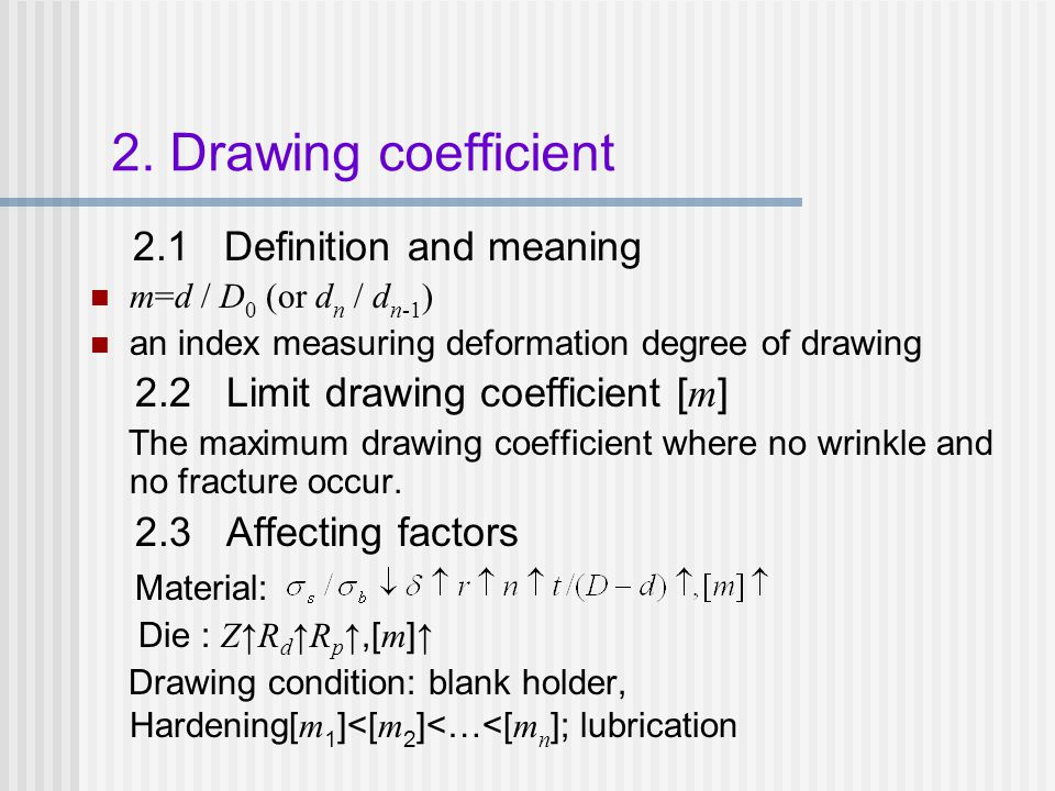 2. Drawing coefficient 2.1 Definition and meaning