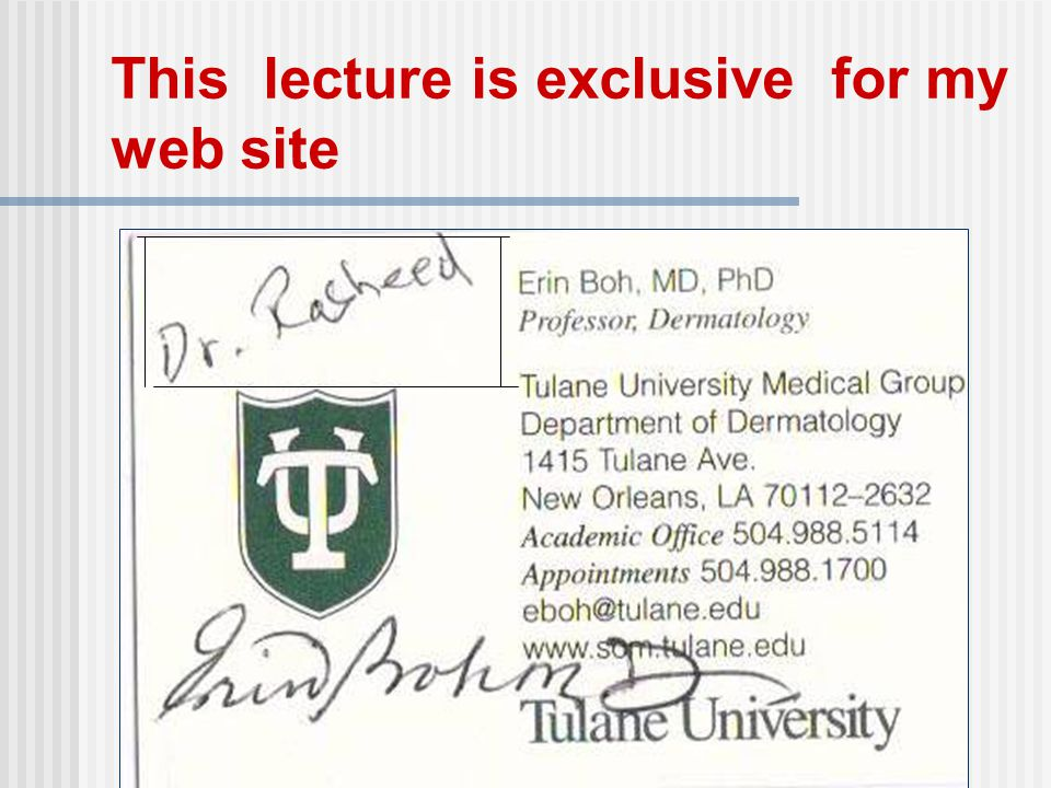This lecture is exclusive for my web site