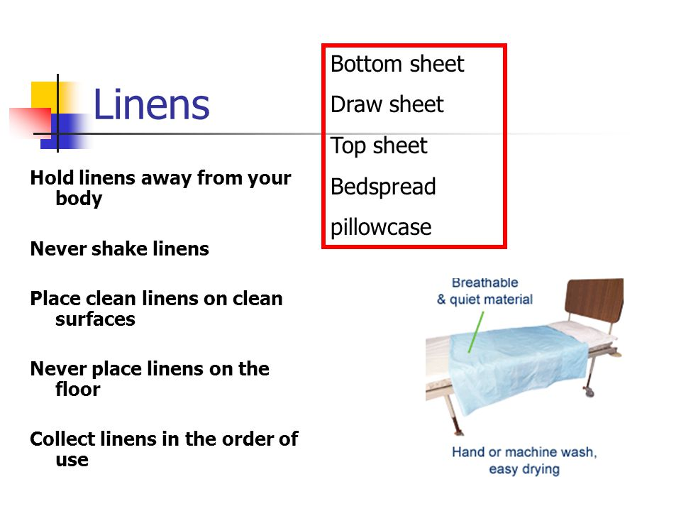 Linens Bottom sheet Draw sheet Top sheet Bedspread pillowcase