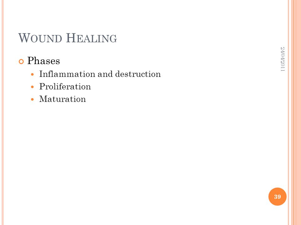 Wound Healing Phases Inflammation and destruction Proliferation