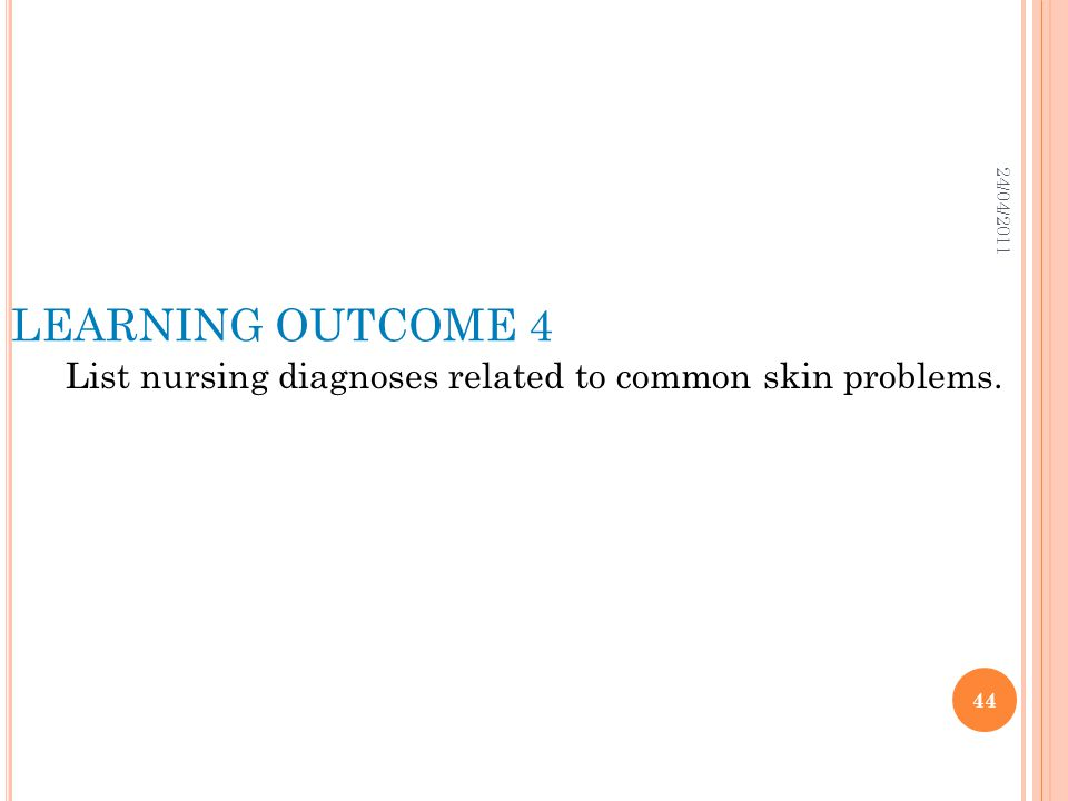 List nursing diagnoses related to common skin problems.