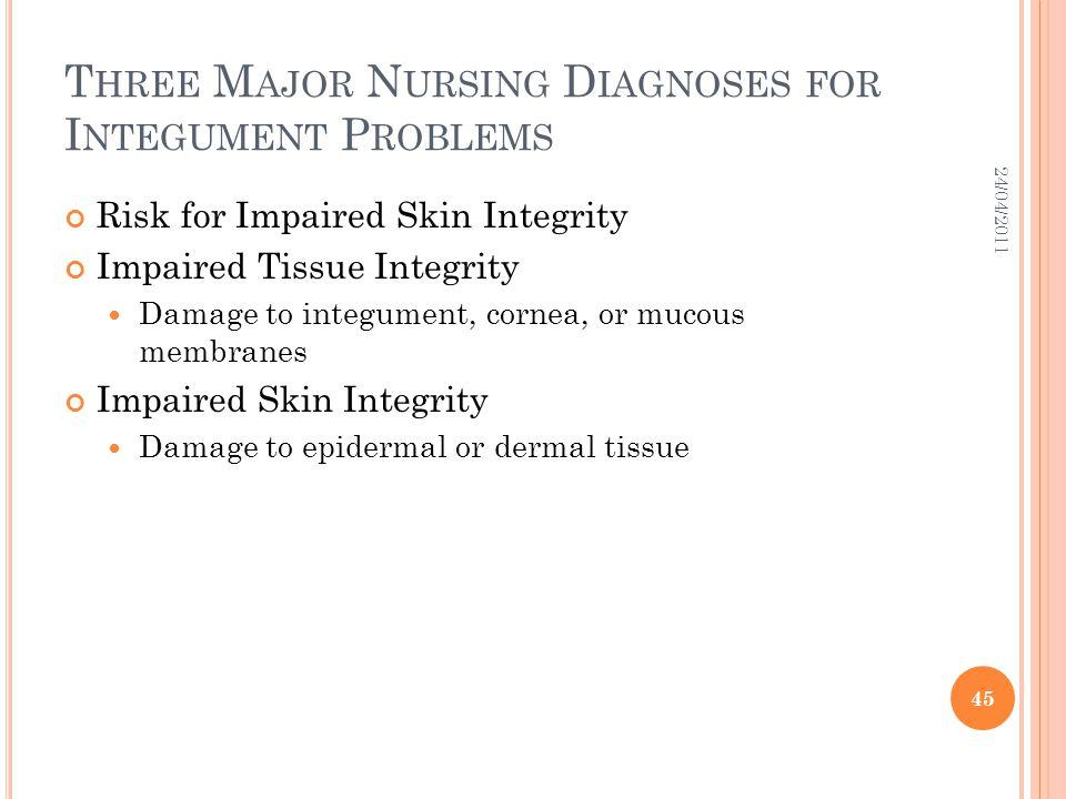 Three Major Nursing Diagnoses for Integument Problems