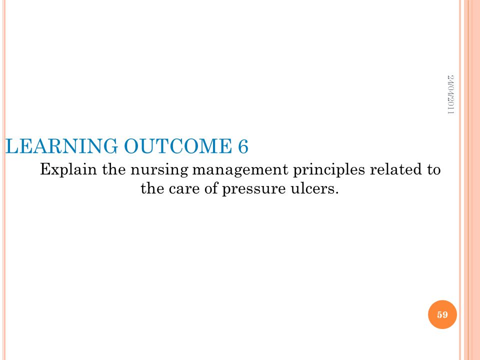 24/04/2011 LEARNING OUTCOME 6.
