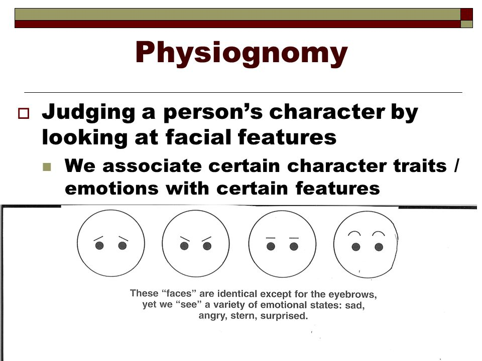 Physiognomy Judging a person's character by looking at facial features