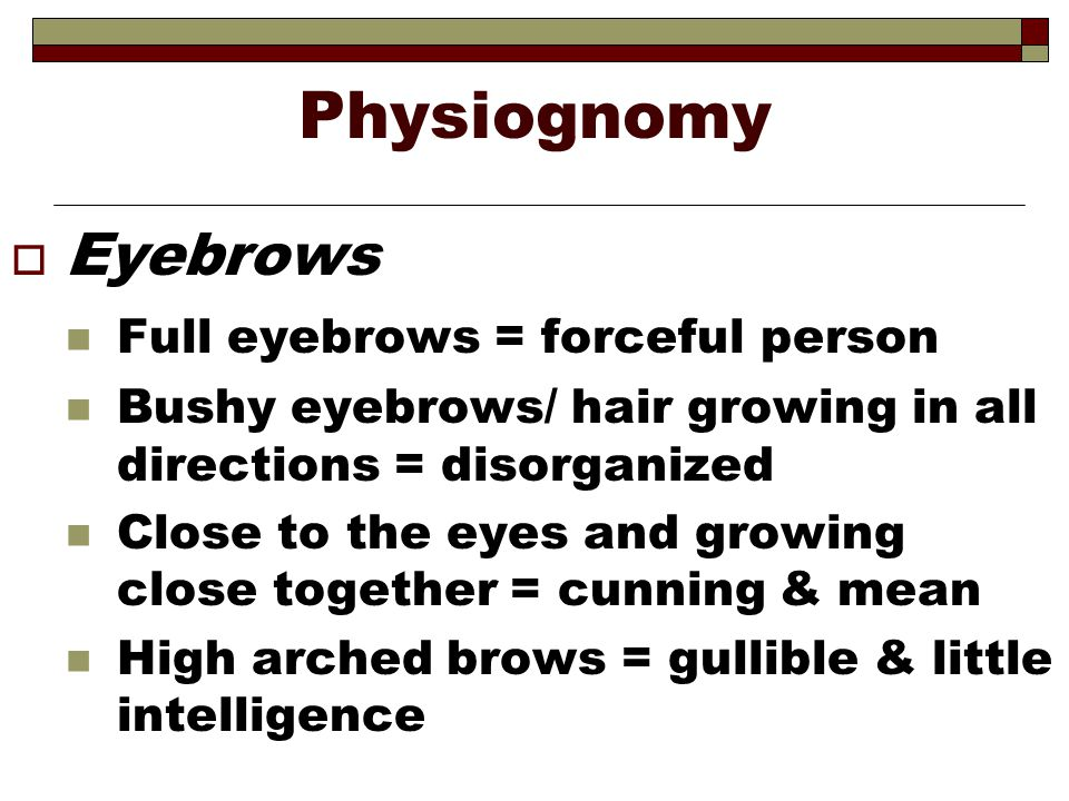 Physiognomy Eyebrows Full eyebrows = forceful person