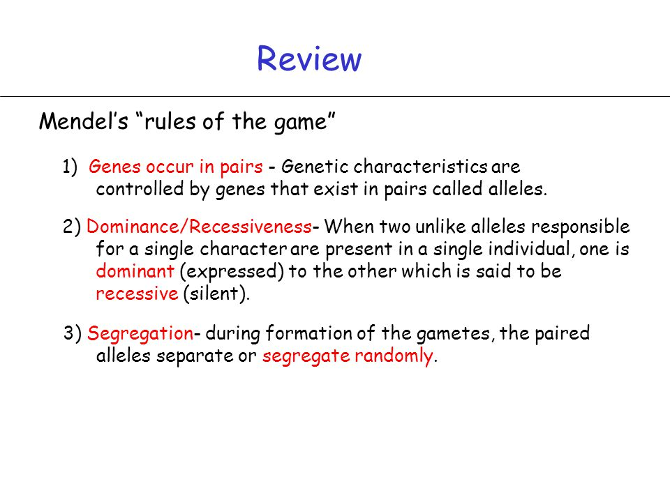 Review Mendel's rules of the game