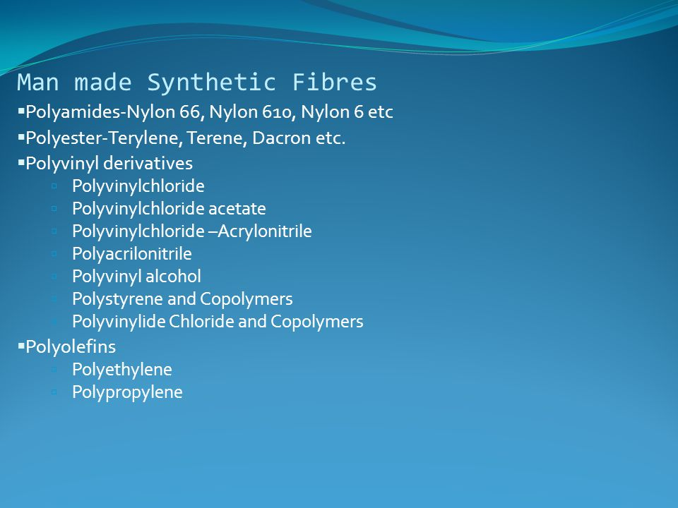 Man made Synthetic Fibres