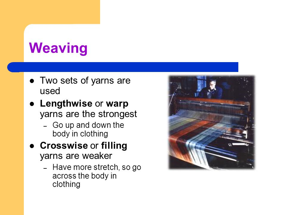 Weaving Two sets of yarns are used