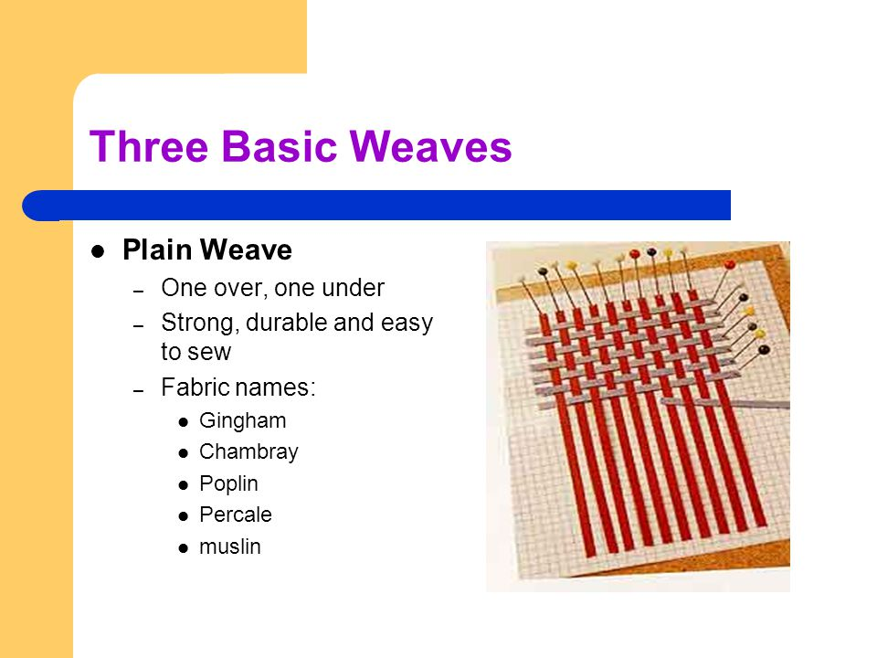 Three Basic Weaves Plain Weave One over, one under