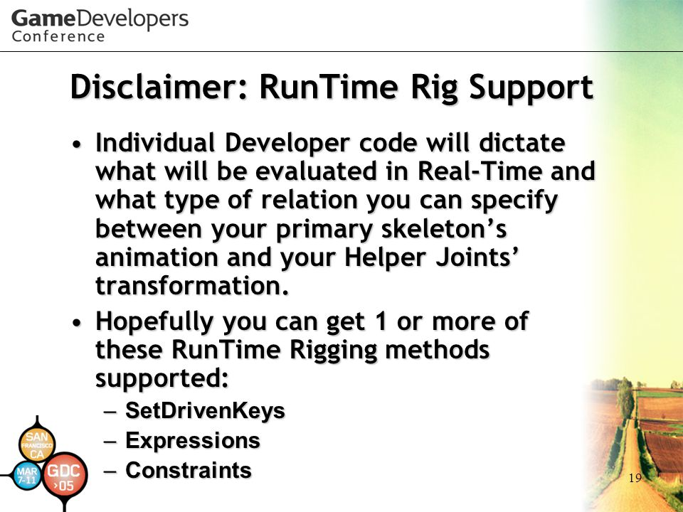 Disclaimer: RunTime Rig Support