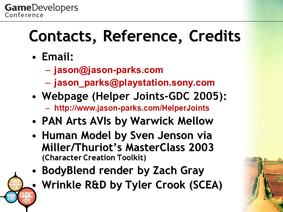 Contacts, Reference, Credits