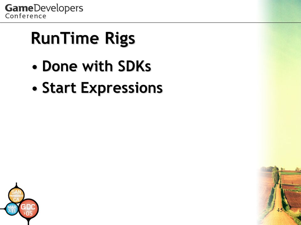 RunTime Rigs Done with SDKs Start Expressions