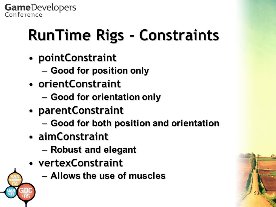 RunTime Rigs - Constraints