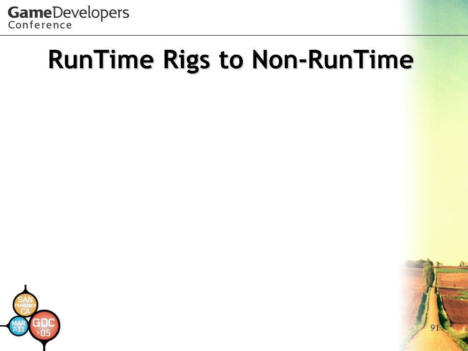 RunTime Rigs to Non-RunTime