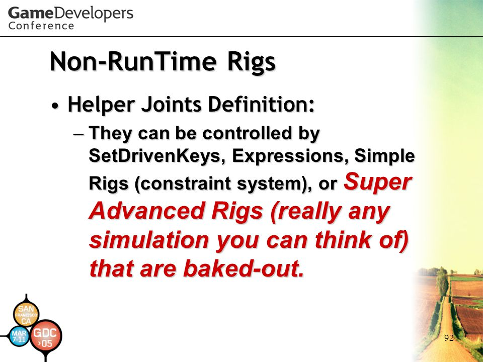 Non-RunTime Rigs Helper Joints Definition: