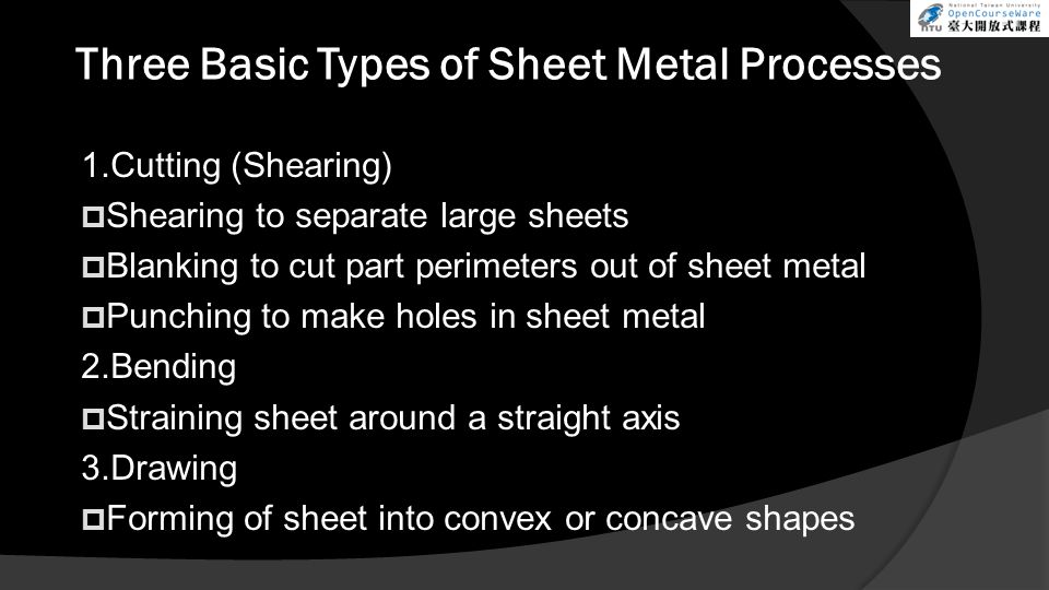 Three Basic Types of Sheet Metal Processes