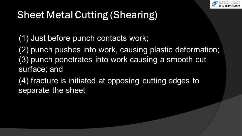 Sheet Metal Cutting (Shearing)