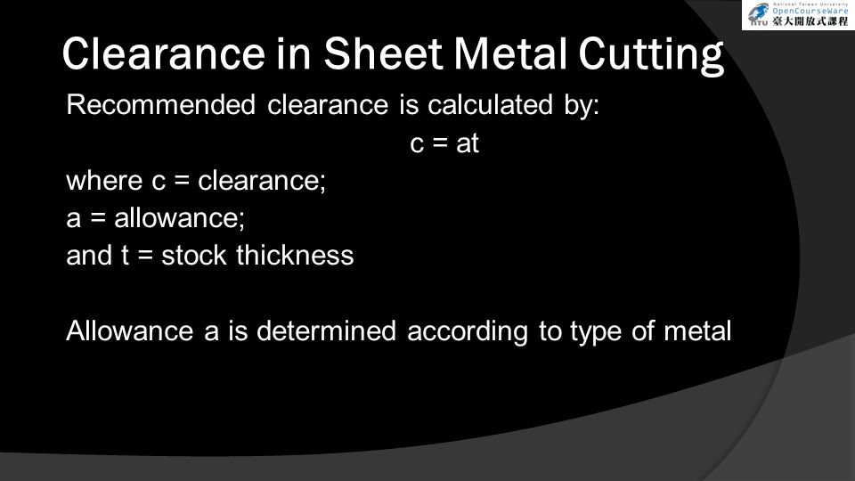 Clearance in Sheet Metal Cutting