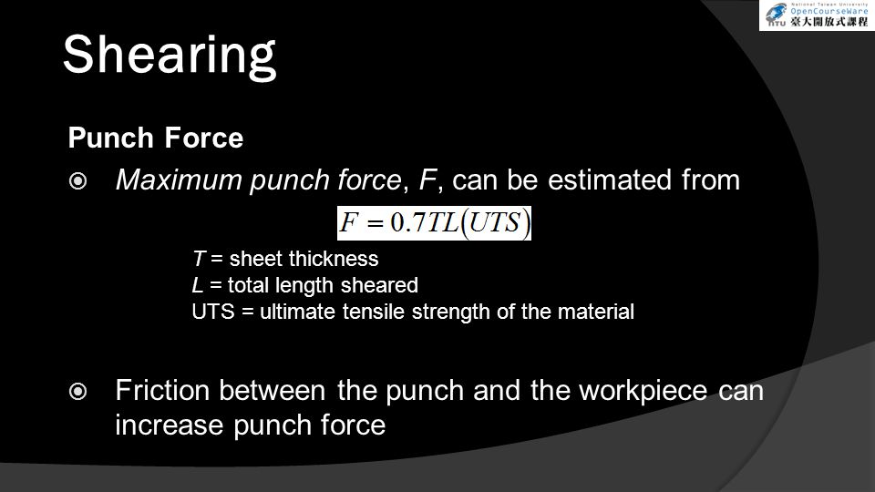 Shearing Punch Force Maximum punch force, F, can be estimated from