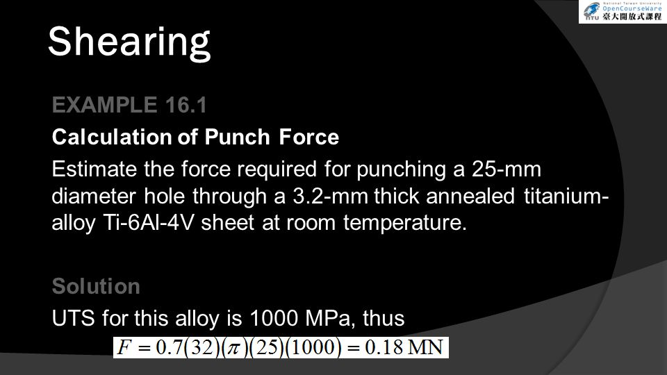 Shearing EXAMPLE 16.1 Calculation of Punch Force