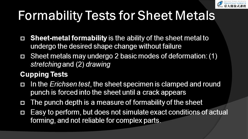 Formability Tests for Sheet Metals
