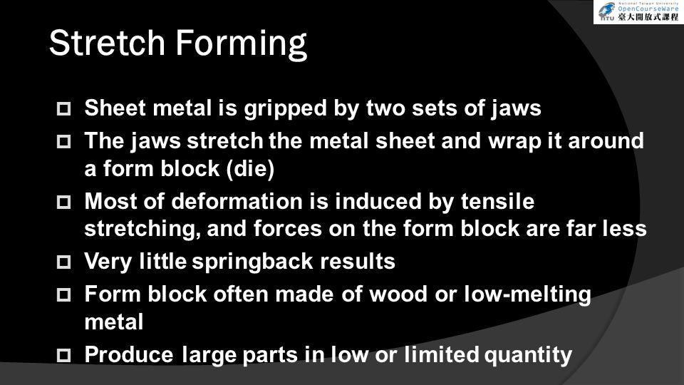 Stretch Forming Sheet metal is gripped by two sets of jaws