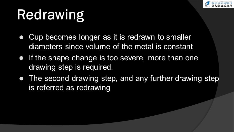 Redrawing Cup becomes longer as it is redrawn to smaller diameters since volume of the metal is constant.