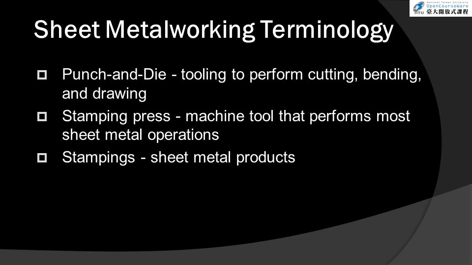 Sheet Metalworking Terminology