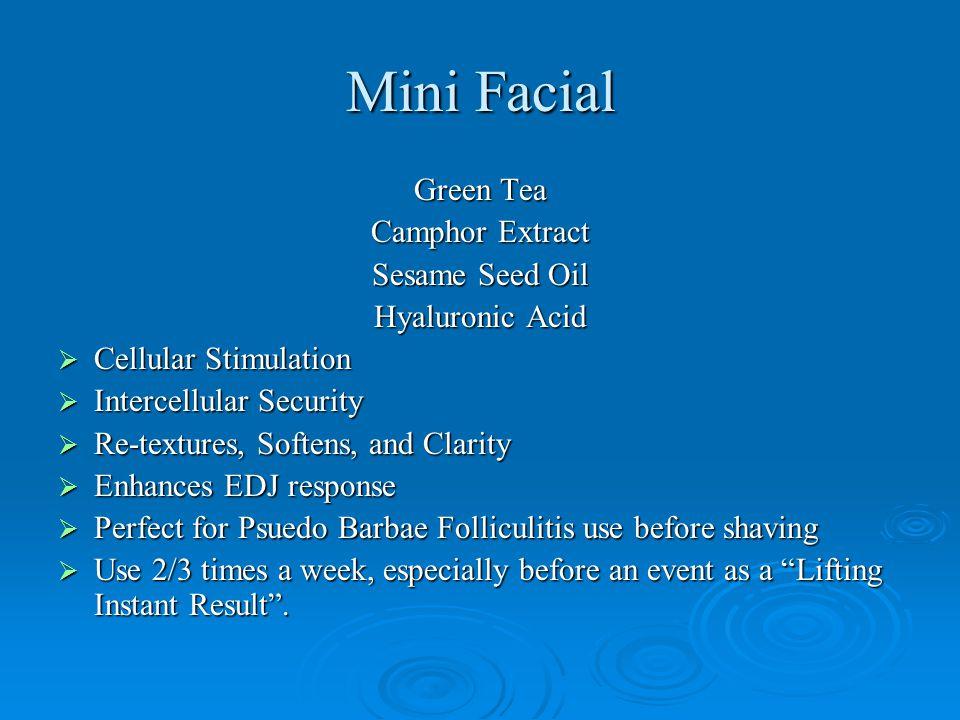 Mini Facial Green Tea Camphor Extract Sesame Seed Oil Hyaluronic Acid