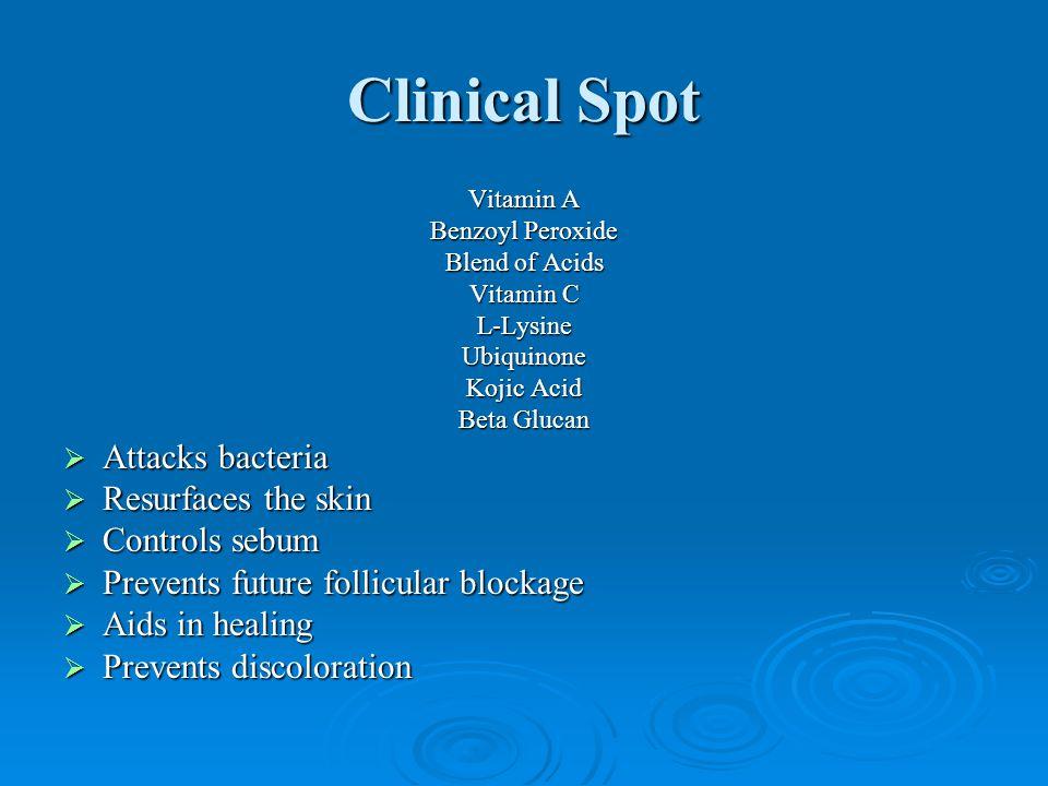 Clinical Spot Attacks bacteria Resurfaces the skin Controls sebum