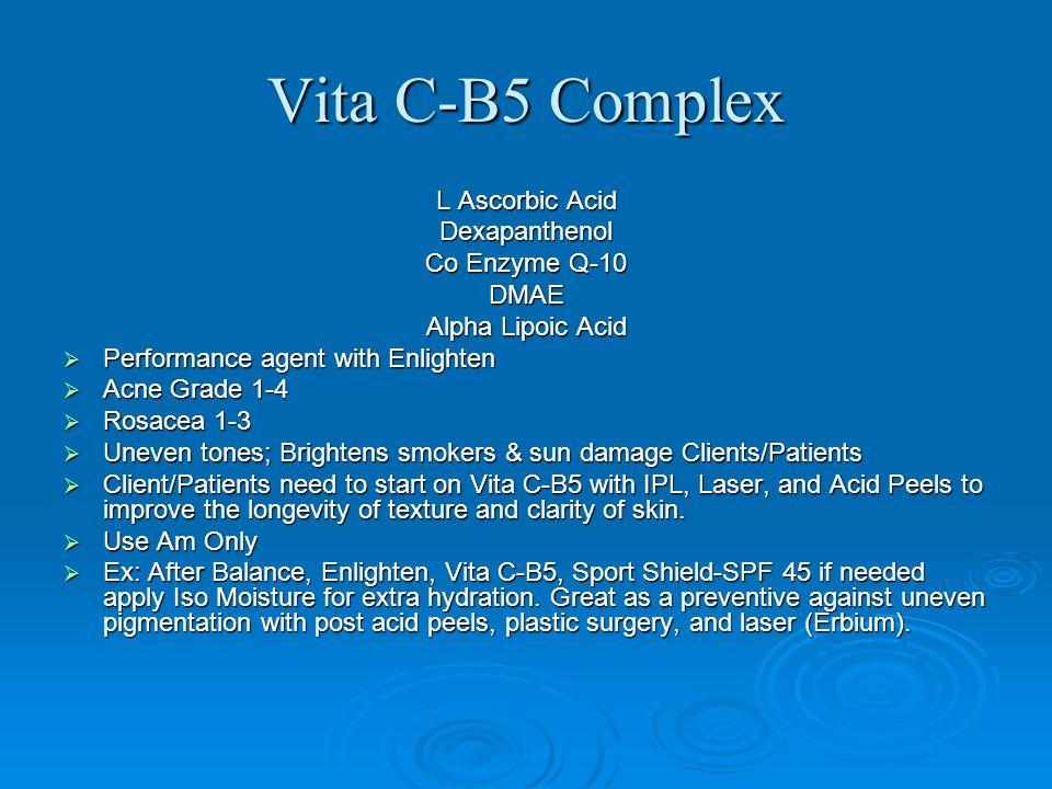 Vita C-B5 Complex L Ascorbic Acid Dexapanthenol Co Enzyme Q-10 DMAE