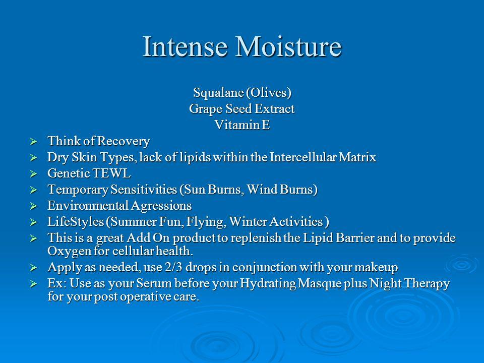 Intense Moisture Squalane (Olives) Grape Seed Extract Vitamin E