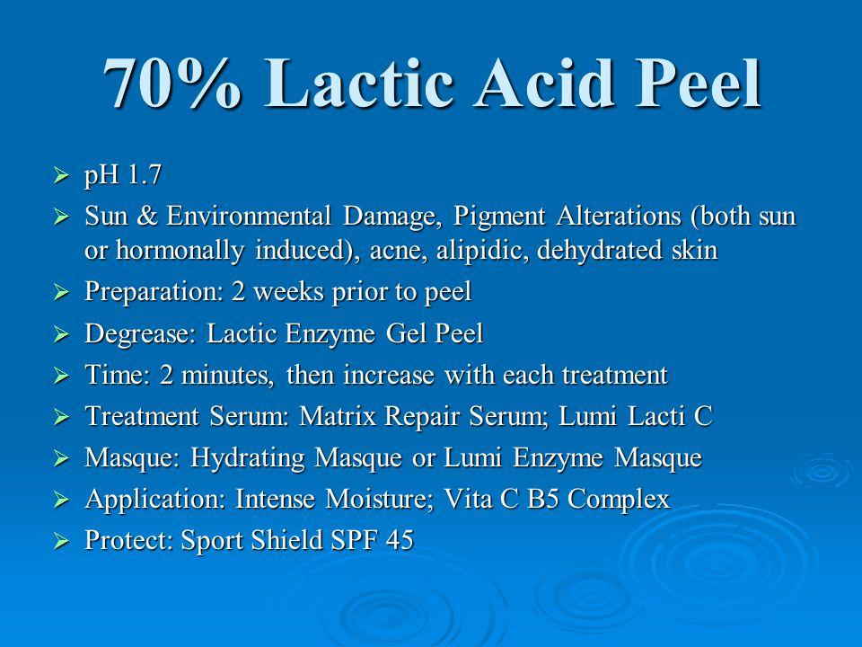 70% Lactic Acid Peel pH 1.7. Sun & Environmental Damage, Pigment Alterations (both sun or hormonally induced), acne, alipidic, dehydrated skin.