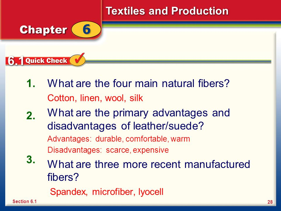 6.1 1. What are the four main natural fibers