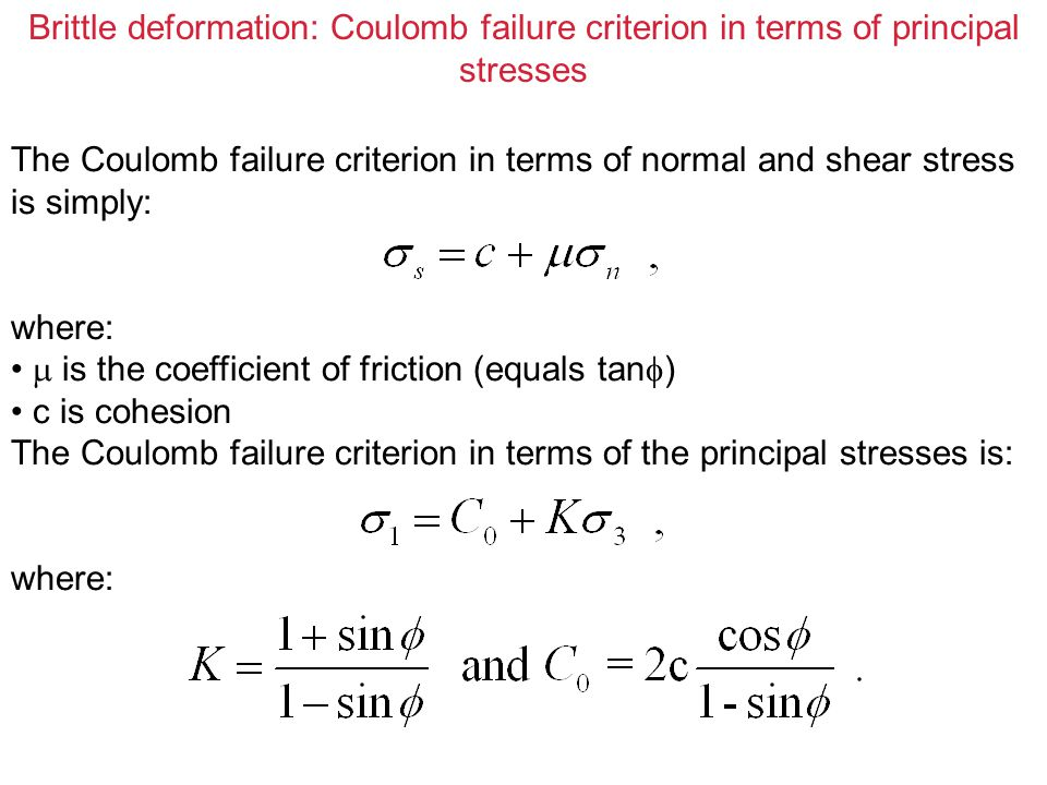 Brittle deformation: Coulomb failure criterion in terms of principal stresses